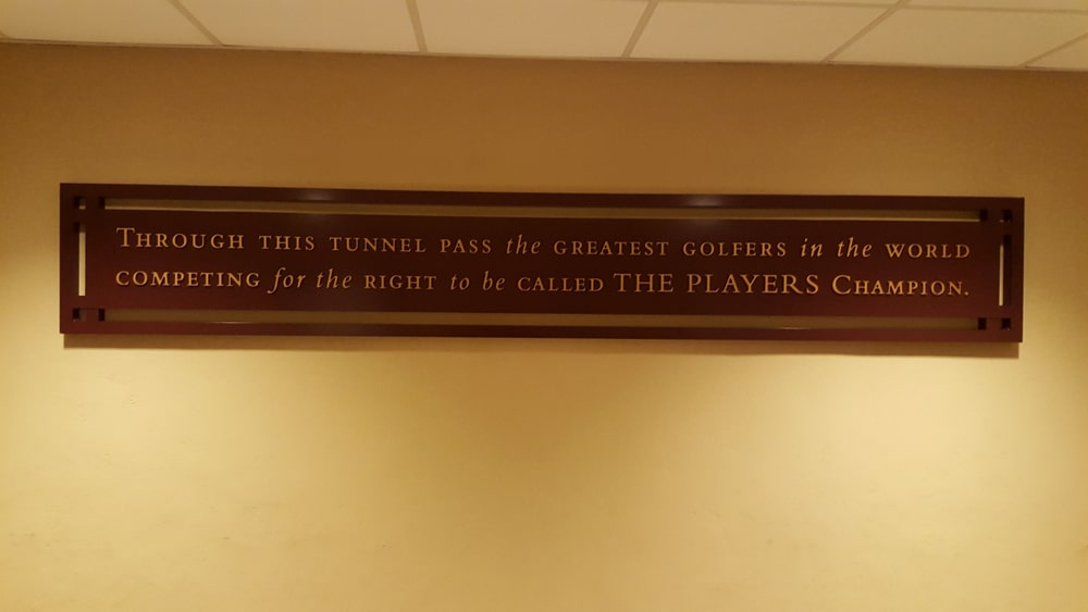 Plaque in the walkway from the clubhouse to the Stadium Course.