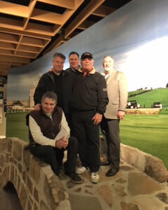 Writer Rick Drennan with Randy MacDonald, Tim Baines, Claudio DeMarchi and Dr. Tony Parker on the Swilican Bridge replica.