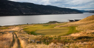 The opening hole, an uphill par-5 with a green tucked in a sea of grass, at Sagebrush (c) Andrew Penner
