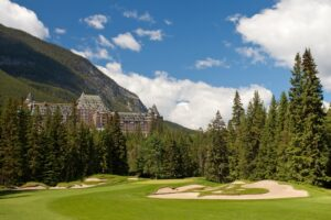The par-4 15th at the Fairmont Banff Springs GC is framed by the iconic hotel.
