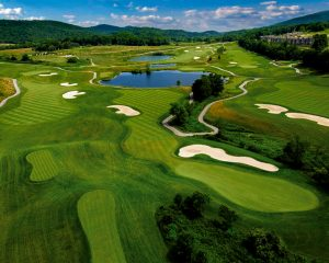 Aerial of Wild Turkey course at Crystal Springs Resort.