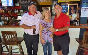 Key Largo - (L-R) GM of Lake Marion Golf Course Todd Millar, Bartender Marsha and the Traveling Golfer - Claudio DeMarchi