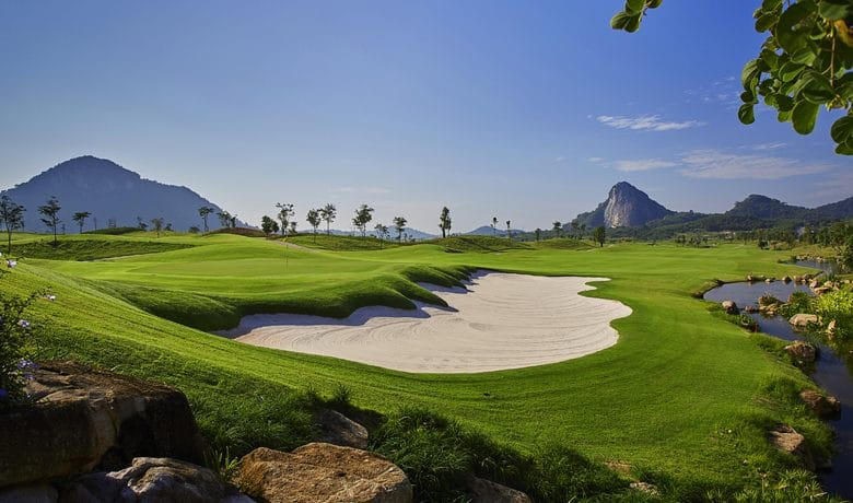 Chee Chan Golf Resort Hole 14 from behind green, Thailand
