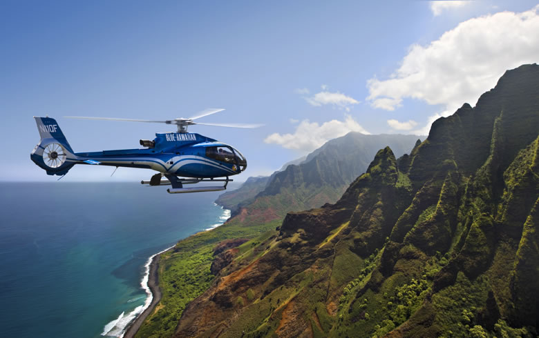 Blue Hawaiian Helicoptor Tours on the Hawaiian island of Kauai